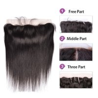Wholesale Free Middle Three Part inch Straight Lace Frontal closure Brazilian Peruvian Malaysian Indian Human hair x4 Size Ear to Ear Frontal