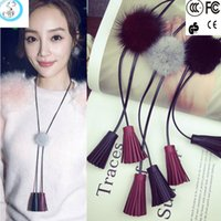 ball and chain leather necklace - 2016 new korea Dongdaemun Li Xiaolu the same paragraph mink fur ball color leather fringed long necklace autumn and winter sweater chain wom