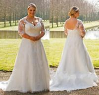 corset wedding dresses - 2017 New Plus Size Elegant A line Wedding Dresses Half Sleeves V neck Sheer Lace Appliques Corset Back Vestios De Novia Bridal Gowns