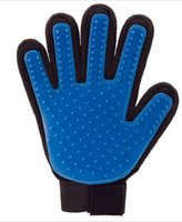 Wholesale New Silicone True Touch Glove Deshedding Gentle Efficient Pet Grooming Dogs Bath Pet Supplies Blue