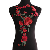 achat en gros de couture applique à broder-Rose Flowers Broderie Sew On Patch Badges Ensemble brodé Applique Applique pour vêtements Cheongsam Robe DIY Accessoires Cadeau