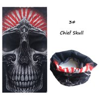 Wholesale Halloween Head Scarf Skull Mouth Mask Biker Magic Turban Headband Veil Kerchief