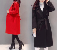 Wholesale Han edition of autumn winters new cloth coat of long lace up quilted woolen cloth coat winter clothing