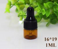 Wholesale ml Amber Glass Dropper Bottles Black Cap Essential Oil bottle Small Perfume Vials Sampling Storage