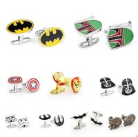 Wholesale Star Wars Cufflinks for Men STYLES Cufflinks Wedding Men Business Shirt Suit Cuff Links Cartoon Jedi Knight Darth Vader Novelty Cufflinks