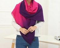 Wholesale Autumn winter multi functional gradient thickening warm cashmere scarf Changed with button cashmere shawl