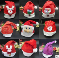Wholesale 2016 Nonwovens Christmas Caps Christmas Santa Claus Hats Christmas Gifts Decoration Cheapest christmas santa claus cap with cartoon