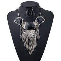 Wholesale Vintage Flower Jewelry Sets Blue Gem Multi Layer Ethnic Silver Plated Behomian Alloy Triangle Resin Tassel Pendant Necklace Women Fashion