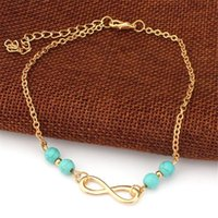 Wholesale Anklet Beads Chain DHL New Summer Style Turquoise Beads Fashion Chain Foot Anklet Women Silver Bracelet Leg Jewelry for Lady