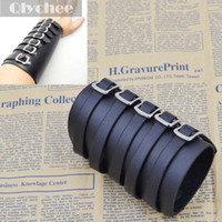 arm armor - 5 Buckles Black Leather Bracer Arm Armor Cuff Punk EMO Gothic Cosplay Costumes amp Accessories