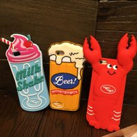 apple beer brands - New Luxury fashion brand cute D cartoon Beer Milk Shake Lobster soft Silicone Case for iPhone S s Plus plus