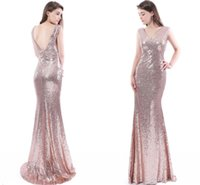Wholesale Sparkle Prom Dress Stock - Cheap In Stock Rose Pink Sparkling Sequined Mermaid Prom Dresses 2017 V Neck Low Back Evening Dresses Long Sweep Train Formal Party Gowns