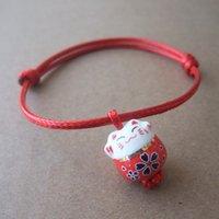 Gatos de perlas España-Joyería hecha a mano del brazalete de la cera de la cera de la pulsera de Kabbalah de los granos de cerámica del gato afortunado al por mayor-Lindo