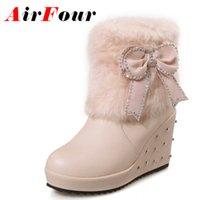 Marrón cuña botas mujeres España-Venta al por mayor-Airfour Brown negro rosa blanca botas de piel mujeres cuñas tacón Rhinestone Slip-on botas arco señora zapatos Mujer Moda de gran tamaño 34-43