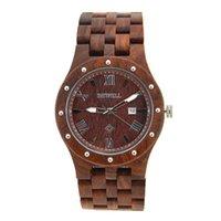 Precio de Cajas de madera relojes-BEWELL Reloj de madera para hombre Reloj de madera de la fecha automática Reloj de cuarzo para hombre Relojes de lujo de la marca de fábrica Reloj de los hombres con la caja de papel 109A