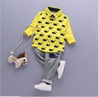 Boy Spring / Autumn 95% Cotton 2017 Spring Autumn Baby Boys Long Sleeve Whale Printed Shirts+Striped Pants 2pcs Set Kids Casual Suit Boy Outfits Children Clothing Sets