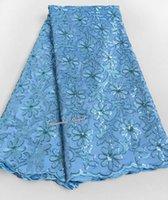Precio de Cielo azul de la tela de lentejuelas-Azul de cielo 5 yardas Cordón africano de George Tela de George de la alta calidad con las porciones de lentejuelas
