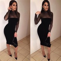 Wholesale 2017 fashion women black long sleeve bodycon dress mesh perspective sexy bandage party dresses for women vestidos de festa