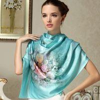 Wholesale Mulberry Long Scarf Women Silk Scarf Luxury Brand Scarf Shawl Silk Scarves Long Printed Shawls Beach Cover ups