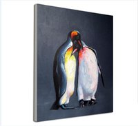 baby penguin pictures - Decorated Animal Picture Canvas Printing Hand Painted Penguin Lovers Wall Painting for Living Room or Baby Room No Frame