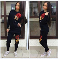 Cheap Sweat Suits Women 2016 Hot Autumn Winter Embroidery Sequined Floral Printed 2 Piece Pants+Sweatshirts Casual Baseball Tracksuits