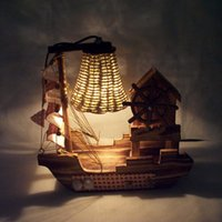 Wholesale Wooden boat desk lamp Creative personality with music box of bedroom adornment home indoor lighting furnishing articles