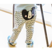 Wholesale Korean Baby Boys Trousers Fashion Bear Ruched Printed Casual Kids Long Pants Cute Cartoon Cotton Spring Toddler boys pants C422