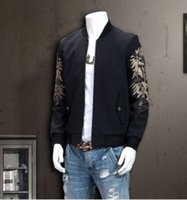 Wholesale Spring autumn style Men s clothing Showthin stand collar jacket Popular sleeves Floral embroidery Men s jacket new