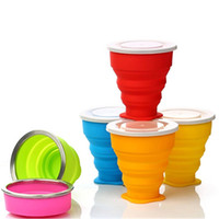 Wholesale New Portable Silicone Retractable Folding Water Cup Collapsible Outdoor Travel Telescopic Collapsible Soft Drinking Cup Water Bottles