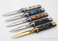 Wholesale AKC quot INCH Acrylic handle Italian Godfather Stiletto C steel blade survival outdoor camping knives single action