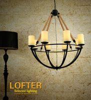 achat en gros de lampes suspendues en marbre-Lustres à lèvres unique Vintage Glass Marble Up Luminaires suspendus Lustre à corde pour la salle à manger