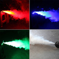 Wholesale New arrival W LED Discolor mini stage smoke machine remote control red green blue for choice colored fog machine