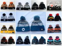 Wholesale Hockey Beanies with Pom New Arrival Hats San Jose Sharks Philadelphia Flyers New Jersey Devils Los Angeles Kings Montreal Canadiens