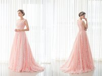 Model Pictures A-Line Jewel Pink Lace 2017 Christmas Prom Party Dresses Long Women Lady Evening Gowns Big Girls Pageant Celebrity Red Carpaet Catwalk Special Occasion