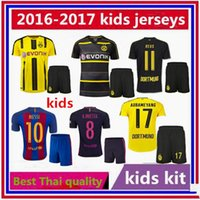 Wholesale Thai quality Dortmund home yellow jersey KIDS AUBAMEYANG GOTZE MOR KAGAWA REUS SAHIN away black shirt