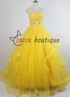 achat en gros de princesse jaune déguisement-2017 Film le plus récent Beauté et la bête belle robe princesse des femmes Belle costume cosplay jaune robe de mariée robe de bal
