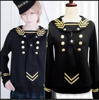 Wholesale Royal Gold Stars Embroidered Sailor Suit Black Full Cosplay Japanese Harajuku Style Clothing