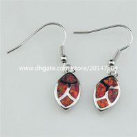Charm australian opal earrings - 21036 Silver Tone Drop Red Lucky Real Australian Opal Hook Earrings Dangle Women