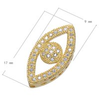beautiful eye shapes - Simple Design Micro Pave Setting Zircon Connector Finding Gold Plated Beautiful Eye Shape Connector