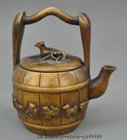 antique chinese teapot - Marked Chinese bronze Fengshui Beast Zodiac Animal Statue Teapot Water bottle