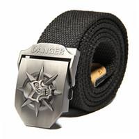 Wholesale Fashion men s Canvas belt skull Metal tactics woven belt canvas belt Casual pants Cool wild gift for men belts