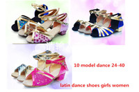 ballrom dancing - 24 Zapatos ballrom glitter Sandals Latin girls single Tango dance party black red gold sliver blue rose Low Heels women shoes