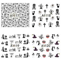 Wholesale Full Beauty Promotion Nails Watermark Tips Halloween Cartoon Ghost Black Pattern Design Nail Sticker Accessories A1117