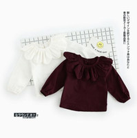 cotton babies pet collars - 2017 INS NEW ARRIVAL Girls Kids shirt Long Sleeve sunflower pet pan collar T shirt girls causal cotton baby girl blouse Free Ship