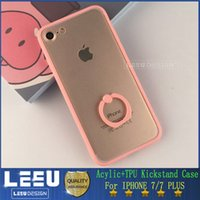 apple bump - For iphone plus clear hard arylic bump with soft tpu case with cell phone ring stand for iphone s plus high quality