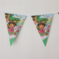 Wholesale m new arriving Dora cartoon paper flags birthday party decoration bannes bunting for kids boys girls party supplies