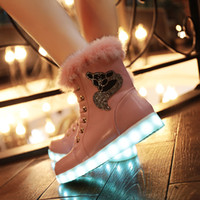 ankle boots women low heels - Winter Snow Boots comfortable womens led snow boots Winter warm Boots USB charging colorful light shoes