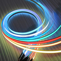 Wholesale 1 cm neon glow tape EL cold light RGB stirp flexible rope AA battery DC3V V USB V Car kit flashing warnning lights