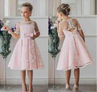 Wholesale 2017 Cheap Baby Pink Short Flower Girls Dresses For Weddings Lace Applique Short Sleeve Knee Length Little Kids Girls First Communion Dress