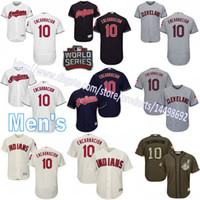 Wholesale Mens Edwin Encarnacion Cleveland Indians Jersey Cool Base Flexbase World Series White Cream Grey Navy Blue Custom Baseball Jerseys